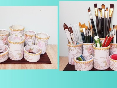 Best out of waste materials craft idea .  DIY multipurpose stand ll  table top organizing ideas .