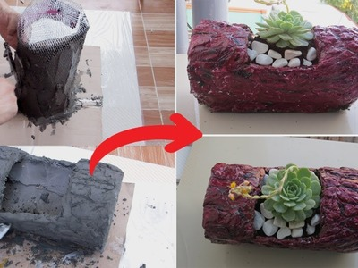 CREATIVE CONCRETE IDEAS | DIY LOG PLANTER FROM CONCRETE