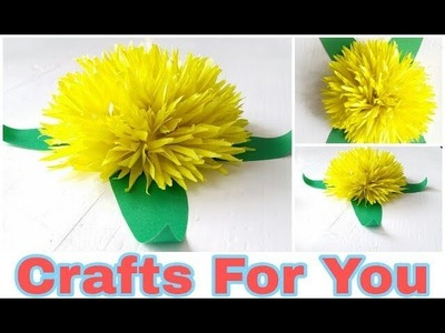 DIY beautifull yellow Flower using paper and Glue