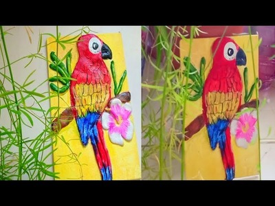 DIY Clay parrot mural. how to make mural at home. clay bird