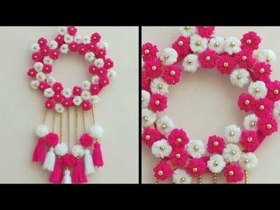 DIY - EASY WALL HANGING TORAN MAKING WITH WOOLEN FLOWERS \ AWESOME WALL HANGING TORAN CRAFT ||
