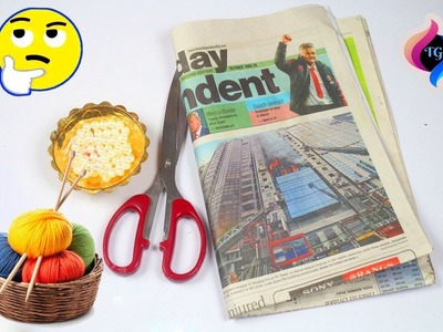 DIY easy woolen and newspaper crafts | Best out of waste newspaper and Wool Craft Idea | Home decor