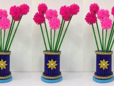 DIY Flower Vase. Easy Flower Vase Making At Home. Room Decorating Ideas. Simple Craft