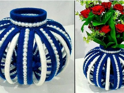 DIY Flower Vase Out Of Waste Newspaper and Wool. Best Home Decor Idea