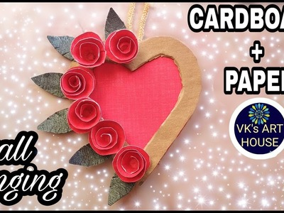 DIY Heart Shaped Wall Hanging || Wall Hanging out of Paper and Cardboard by VK's ART HOUSE