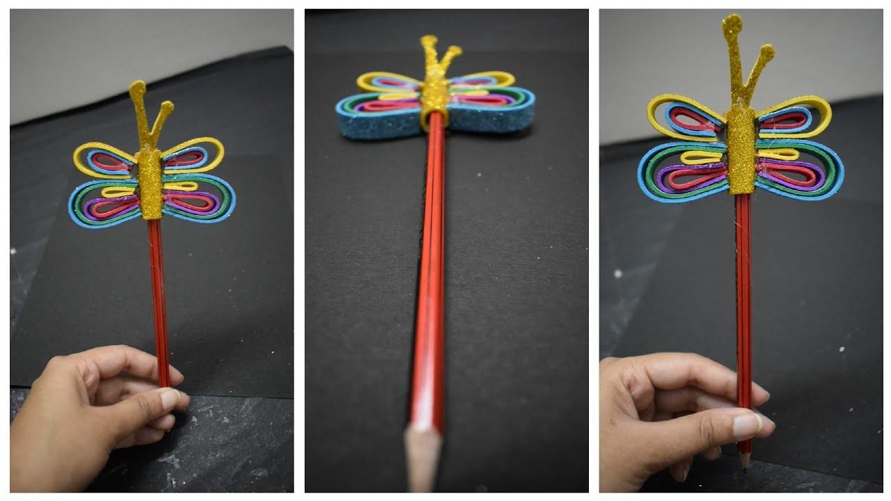 DIY How to make  Butterfly Pen Holder #kidsCraft #summervacation #PenHolder #Homedecor #Ideas #craft