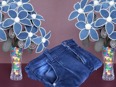 DIY Jeans Flower || Flower Decoration Idea || Best Out of Waste Idea