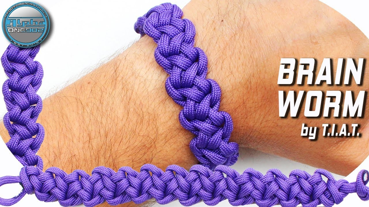 DIY Paracord Bracelet Brain worm without buckle World of Paracord How to make paracord by T.I.A.T.