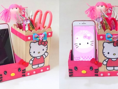 DIY Pen holder with icecream sticks | DIY Desk Organizer With icecream sticks. Hello kitty organizer