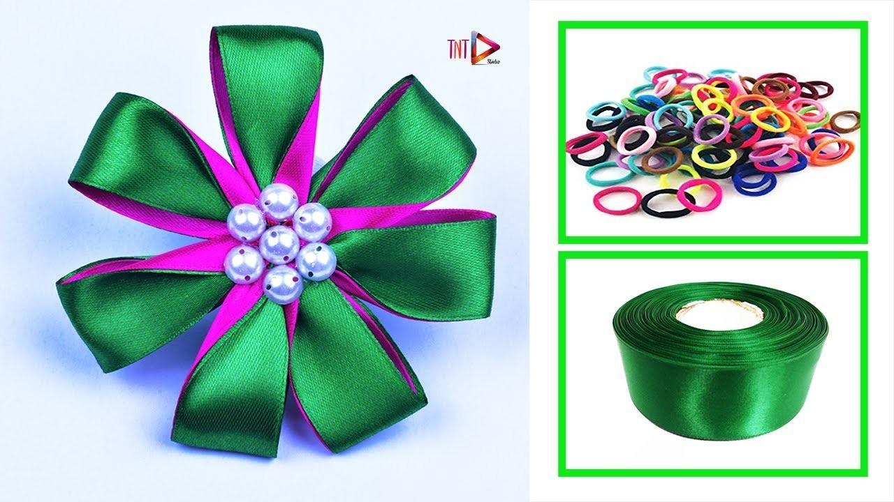 DIY Ribbon Band Hair Accessories Easy | Handmade Rubber Hair Band For Kids | V5