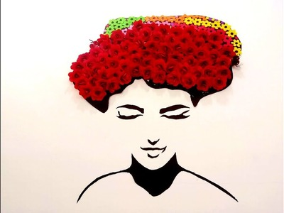 DIY Room Decor Ideas   Making Girl with Rose Crown   Wall Decor with Rose   Rose Girl