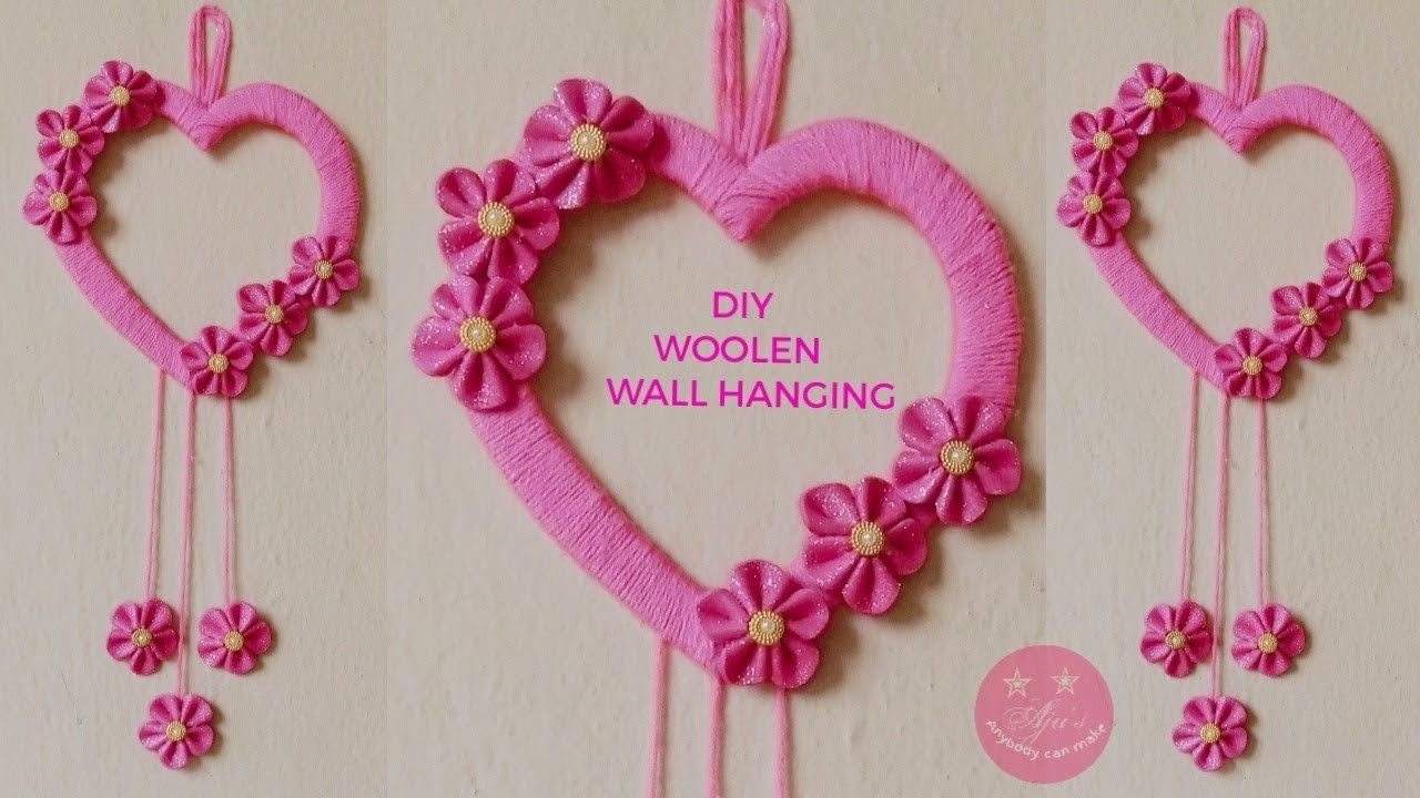 DIY WOOLEN HEART WALL HANGING   EASY GIFT   BEST FROM WASTE