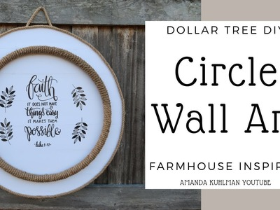 DOLLAR TREE DIY | Circle Rope Wall Art | Farmhouse Inspired Look