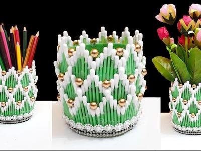 Flower vase.Pen Holder.Organizer from plastic bottle & Earbuds |DIY Flower vase.Organizer