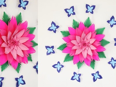 Giant Paper flower wall hanging - Easy Giant lotus wall art decoration ideas
