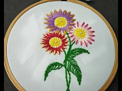 Hand Embroidery | Fantasy Flower Stitch | Brazilian Flower Embroidery |Brazilian Embroidery Tutorial