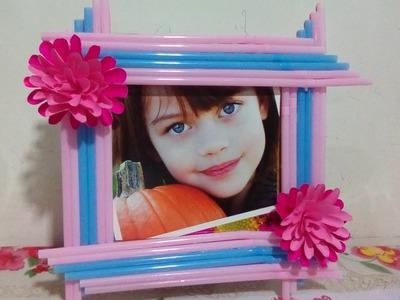 Handmade photo frame with cardboard and drinking straws . . . .diy