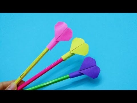 How to make an Origami Love Pen Cap | DIY paper crafts | Easy Origami step by step Tutorial