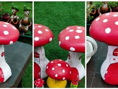 How to make beautiful cement mushroom for garden decoration
