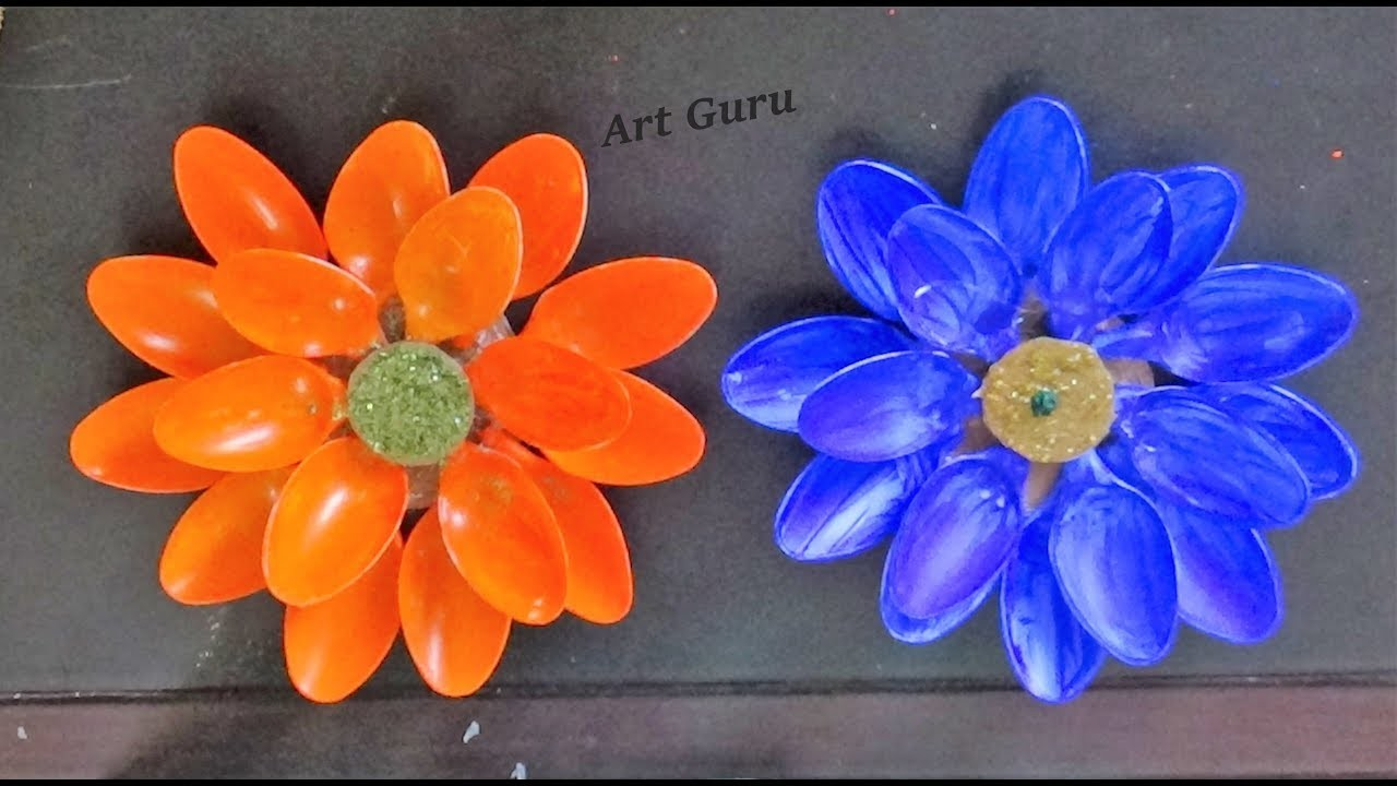 How to make easy lotus flower using with plastic spoons