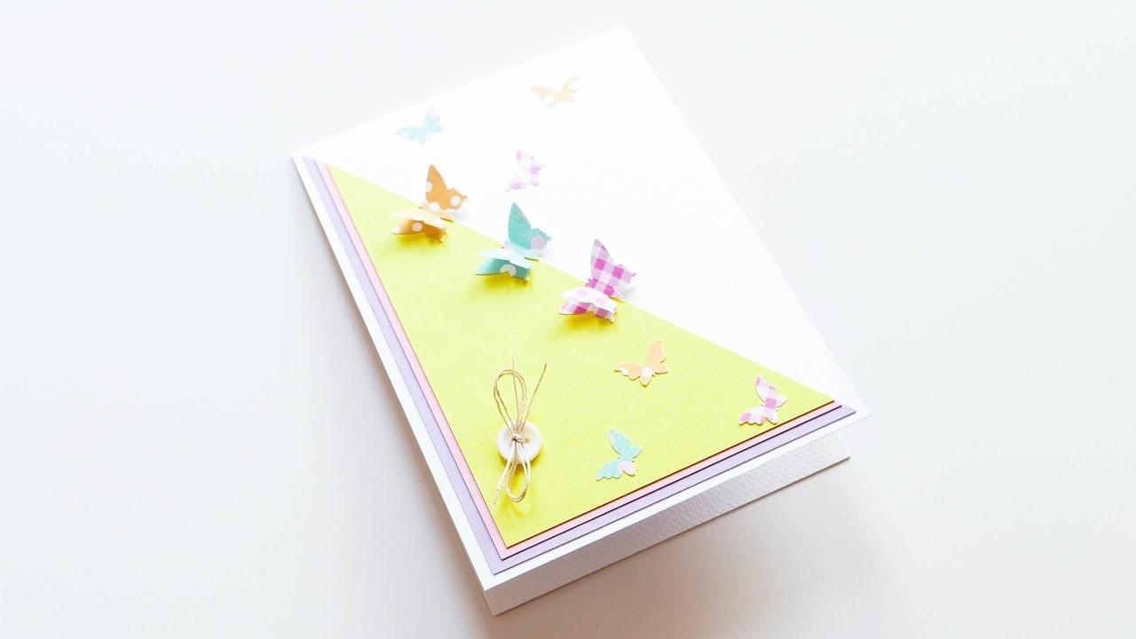 How to make : Greeting Card with Butterflies | Kartka z Motylami - Mishellka #357 DIY