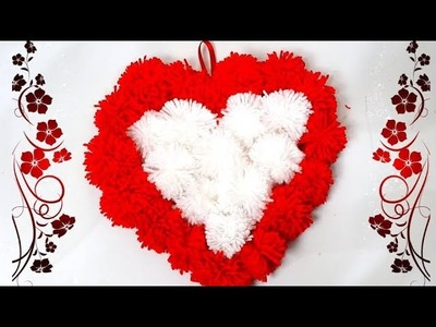 How to make heart shape pompom - Heart gift for valentine with Wool - Woolen handmade craft 2019