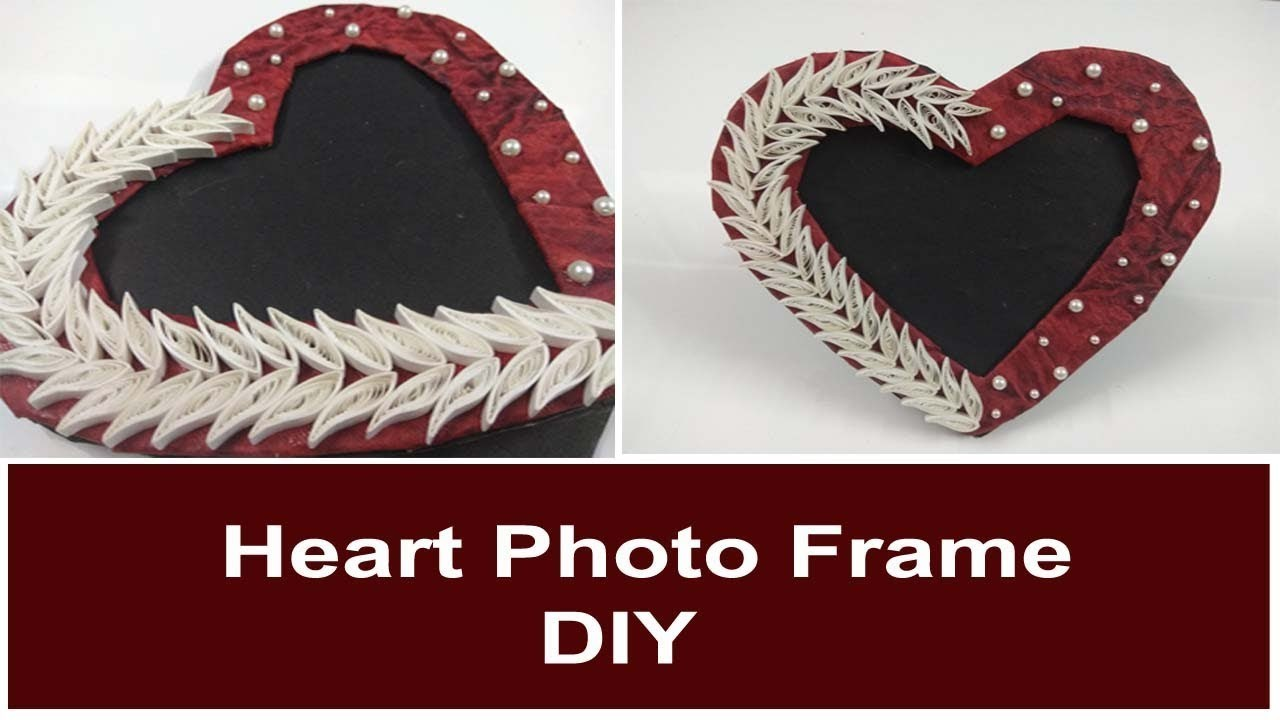How to make heart shaped photo frame at home. Handmade photo frame. Quilling photo frame