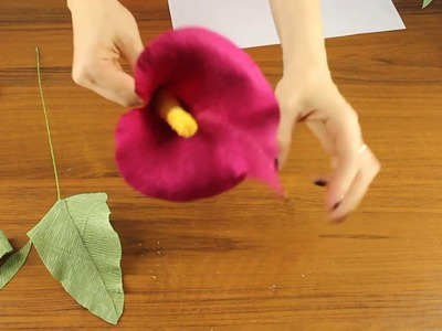 How to make Paper flower. Paper flower calla lily. Crepe paper flower. Calla lily paper bouqet