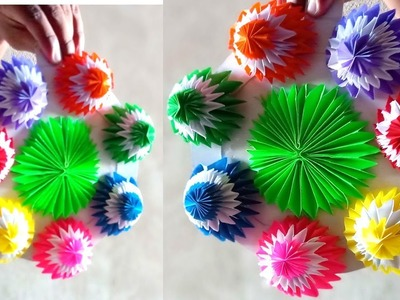 How to make wall decoration with paper flower. paper flower wall decor tutorial