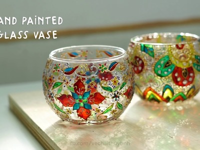 HOW TO Paint On Glass Vase Step By Step | Vio Arts Crafts