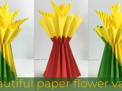 Paper Flower Vase | Flower Vase Making | Paper Crafts | Paper Crafts Easy