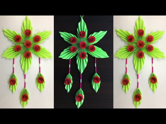 Paper Flowers Wall Decorations.  Simple Crafts. DIY Room Decorating Ideas. Wall Hanging crafts