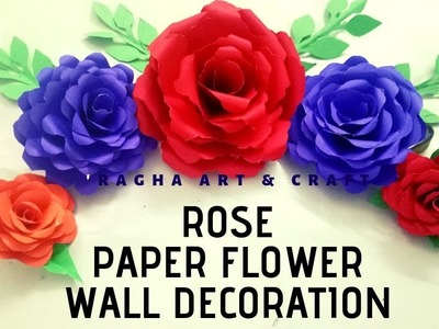 Paper rose wall hanging.how to make paper rose flower(DIY)|Home Decoration