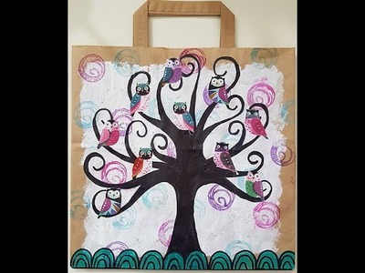 Recycled Paper bag - Whimsical Tree And Owls