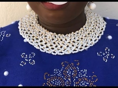 Round neck version of the executive lady beaded necklace.diy beaded jewelry. tutorial on this beads
