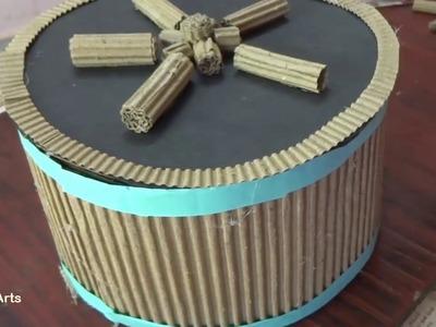 వాడేసిన అట్ట పెట్టి తో రౌండ్ బాక్సు చేద్దాం. Basket | Cardboard Crafts |  DIY  crafts, Amma Arts