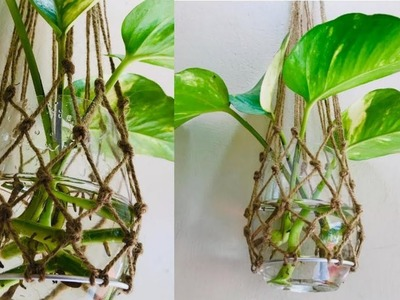 വളകൾ ഉപയോഗിച്ച് ഒരു പ്ലാൻറ് പോട്ടർ | Plant Potter using bangle | DIY Room decor