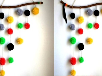 WOOLLEN Pom pom wall hanging.DIY  very easy and simple woollen pom pom hanging