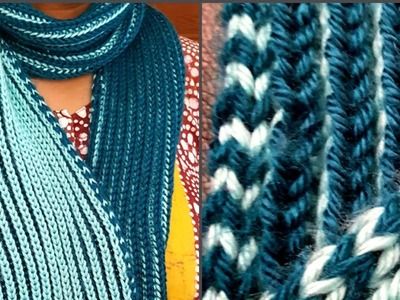 2-color Fisherman's rib scarf with i-cord edges: a Knittycat's Knits project