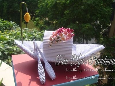 3D Origami Flower Boat | Paper Flower Boat Home Decoration