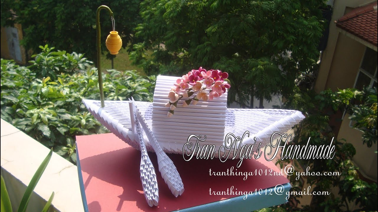 3D Origami Flower Boat | Paper Flower Boat Home Decoration