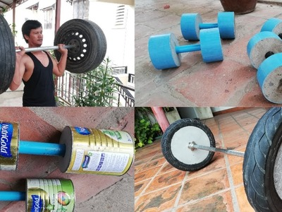 4 Awesome to make homemade Dumbbell & Barbell. Gym at home