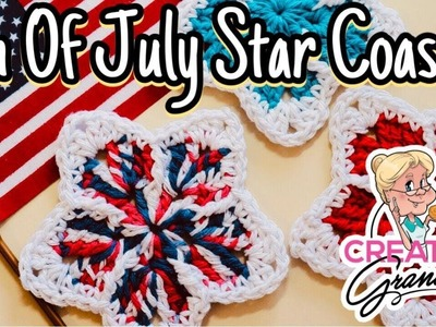4th of July Star Coaster - Crochet Tutorial