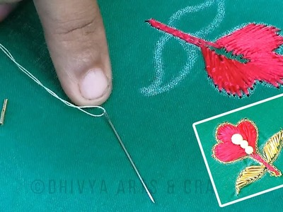 Aari work for beginners | easy embroidery on blouse | zardosi work design  | #248