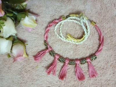 Beautiful and simple thread necklace. Anchor thread Antique bead necklace. (A.Amore Arts & Crafts)