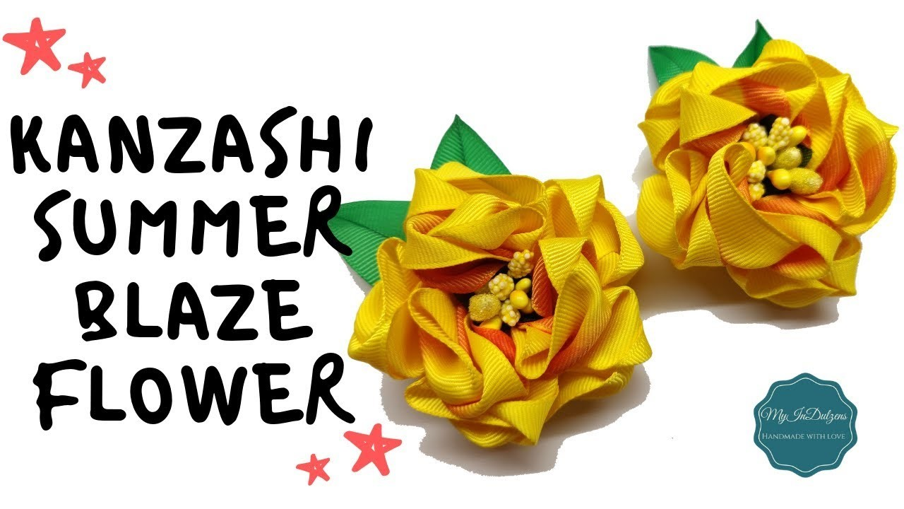 D.I.Y. Grosgrain Kanzashi Summer Blaze Flower | MyInDulzens