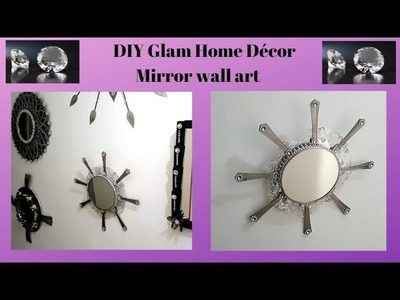 DIY Glam Home Décor Mirror wall art Dollar Tree Project D27