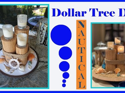 Dollar Tree DIY Nautical Beach Centerpiece Tablescape