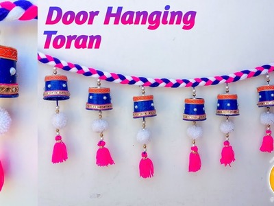 Door Hanging TORAN from Disposal Tea Glass for Door Decor | Beautiful Toran Design Ideas