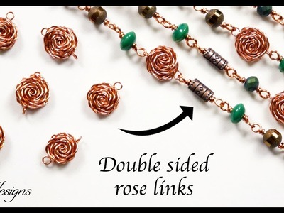 Double sided wirework rose link.charm